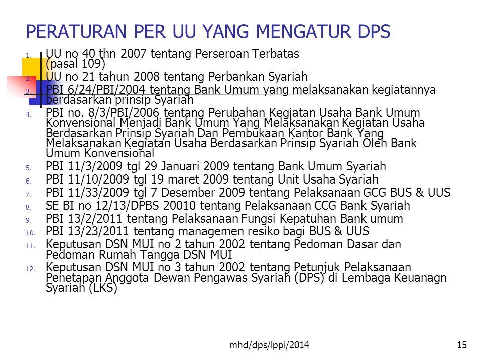 PERATURAN PER UU YANG MENGATUR DPS 15 1.