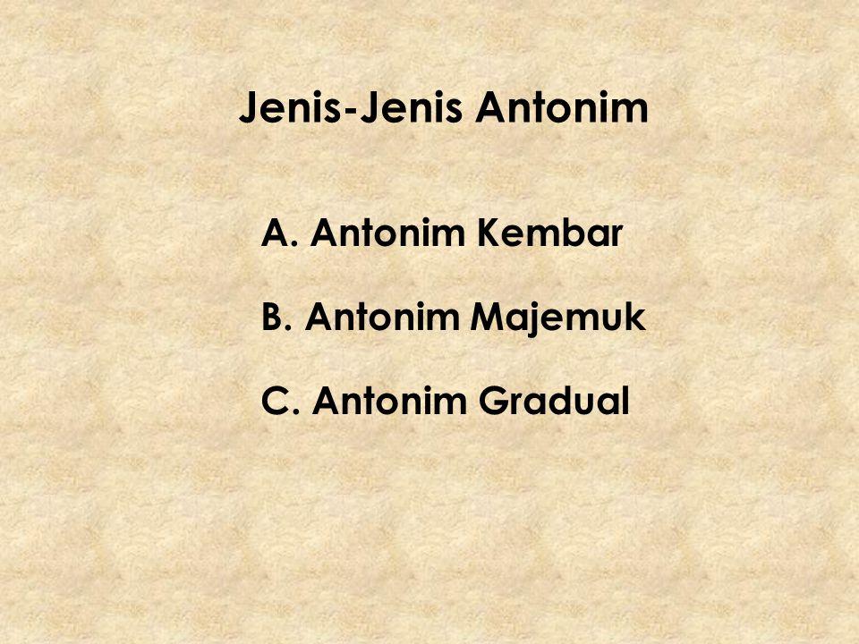 A.Antonim Kembar Kata-kata yang berlawanan makna, terbatas hanya dua unsur saja.