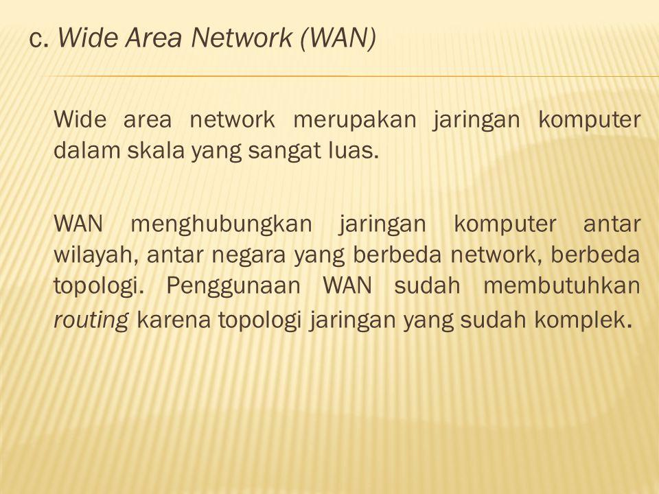 c. Wide Area Network (WAN) Wide area network merupakan jaringan komputer dalam skala yang sangat luas. WAN menghubungkan jaringan komputer antar wilay