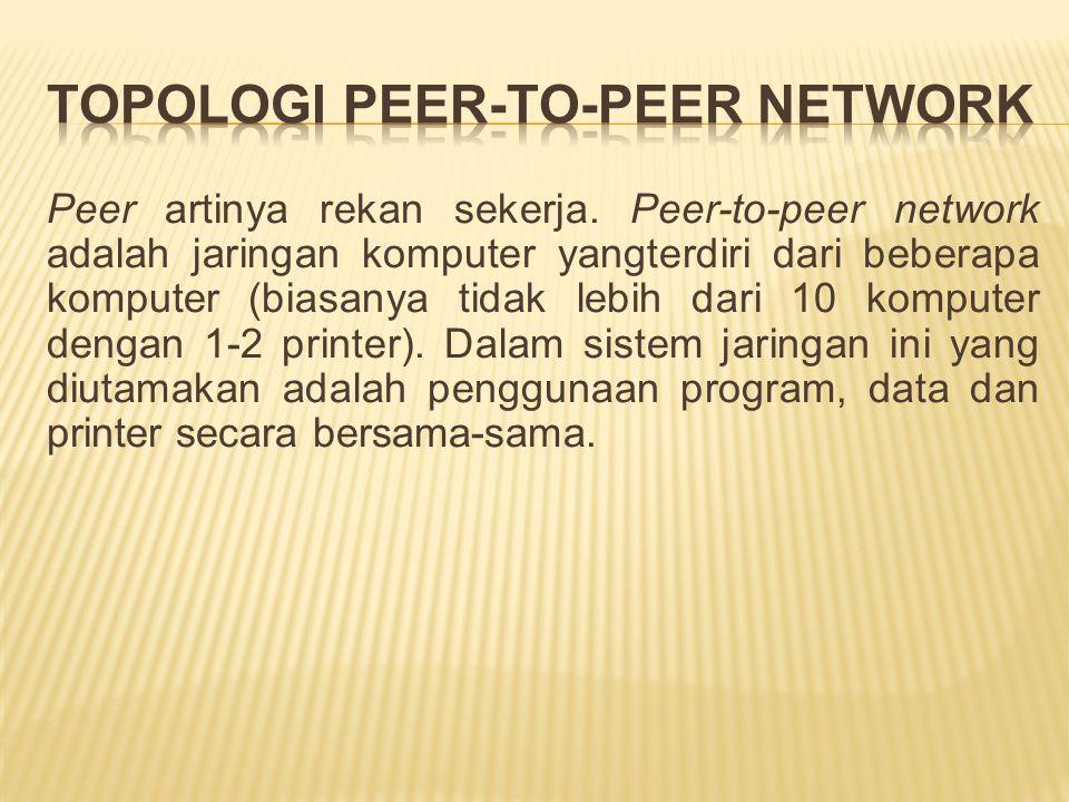 Peer artinya rekan sekerja. Peer-to-peer network adalah jaringan komputer yangterdiri dari beberapa komputer (biasanya tidak lebih dari 10 komputer de