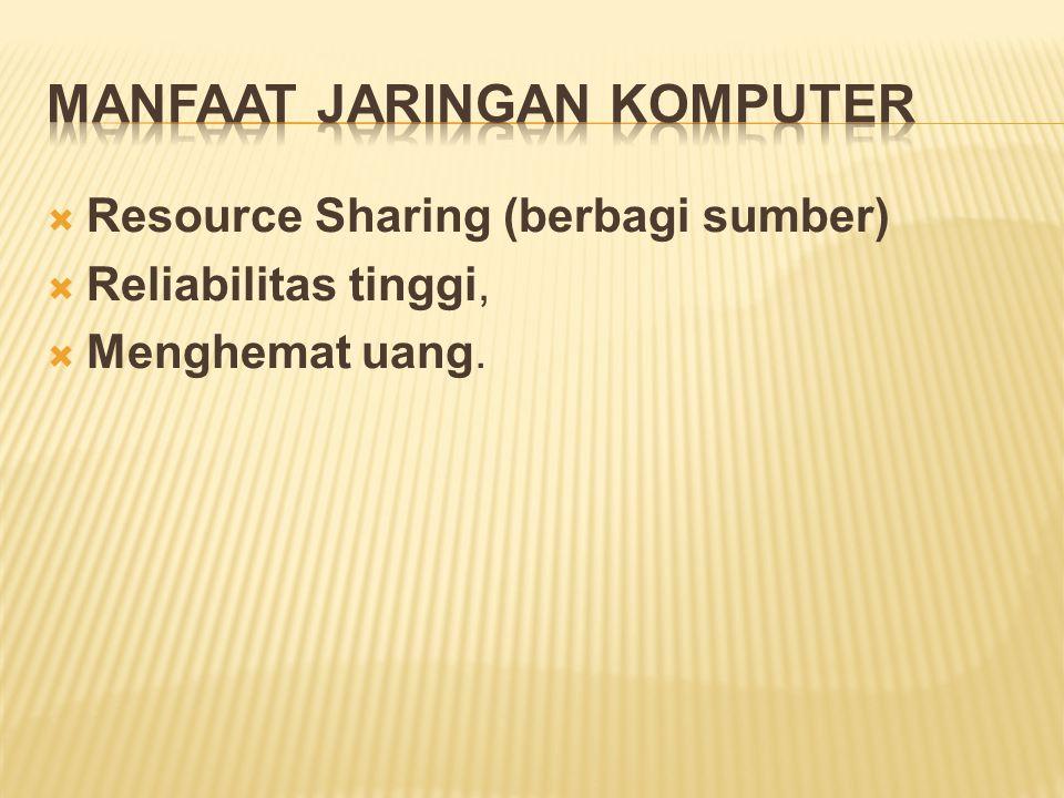  Resource Sharing (berbagi sumber)  Reliabilitas tinggi,  Menghemat uang.