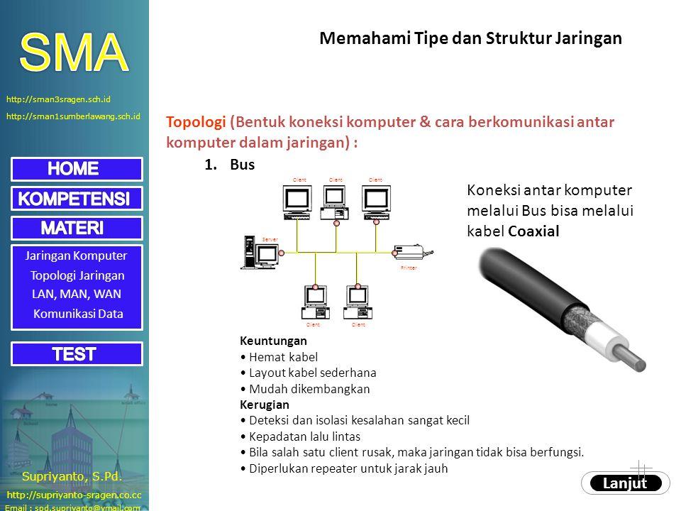 Jaringan Komputer Topologi Jaringan Topologi (Bentuk koneksi komputer & cara berkomunikasi antar komputer dalam jaringan) : 1.Bus Koneksi antar komput