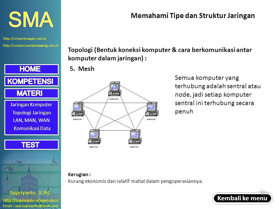 Jaringan Komputer Topologi Jaringan LAN, MAN, WAN 5. Mesh Semua komputer yang terhubung adalah sentral atau node, jadi setiap komputer sentral ini ter