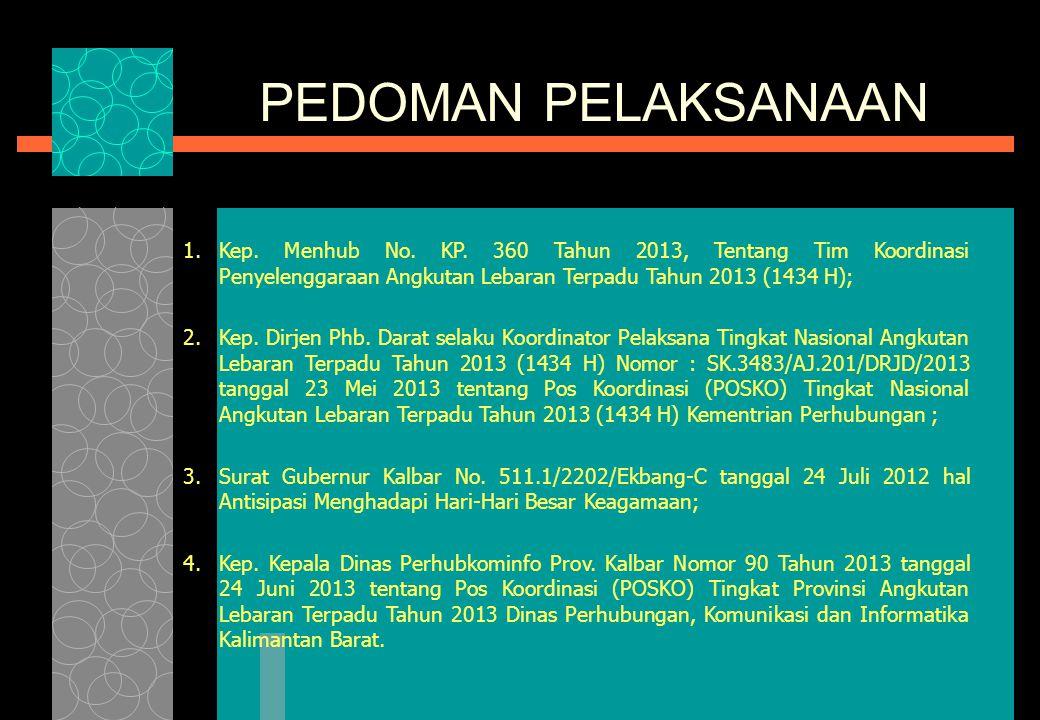 PEMERINTAH PROVINSI KALIMANTAN BARAT DINAS PERHUBUNGAN, KOMUNIKASI DAN INFORMATIKA Pontianak, 1 – 16 Agustus 2013 RENCANA OPERASI PENYELENGGARAAN ANGK