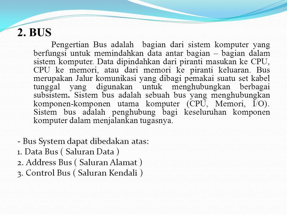 2. BUS Pengertian Bus adalah bagian dari sistem komputer yang berfungsi untuk memindahkan data antar bagian – bagian dalam sistem komputer. Data dipin