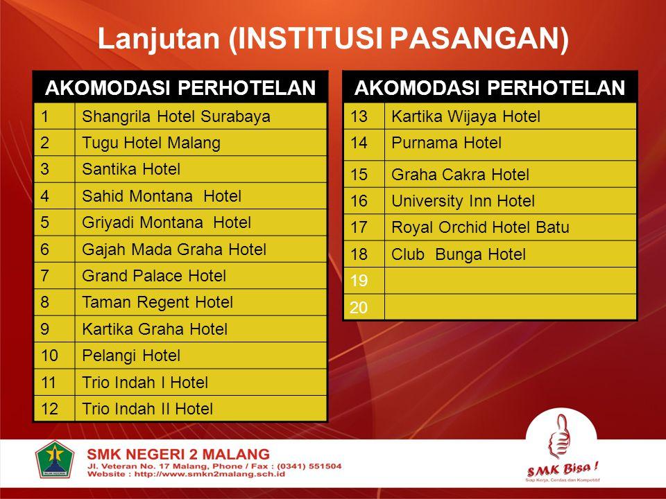 Lanjutan (INSTITUSI PASANGAN) AKOMODASI PERHOTELAN 13Kartika Wijaya Hotel 14Purnama Hotel 15Graha Cakra Hotel 16University Inn Hotel 17Royal Orchid Ho