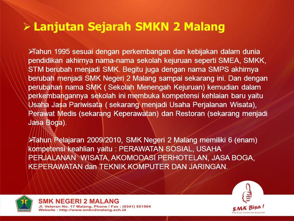  Lanjutan Sejarah SMKN 2 Malang  Tahun 1995 sesuai dengan perkembangan dan kebijakan dalam dunia pendidikan akhirnya nama-nama sekolah kejuruan sepe