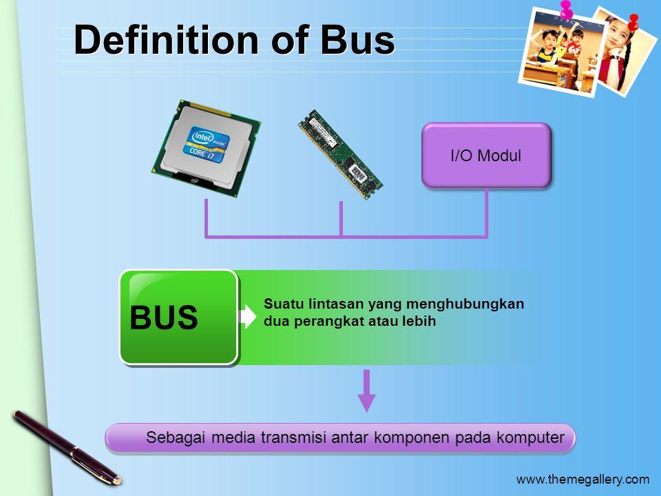 www.themegallery.com Definition of Bus I/O Modul BUS Suatu lintasan yang menghubungkan dua perangkat atau lebih Sebagai media transmisi antar komponen