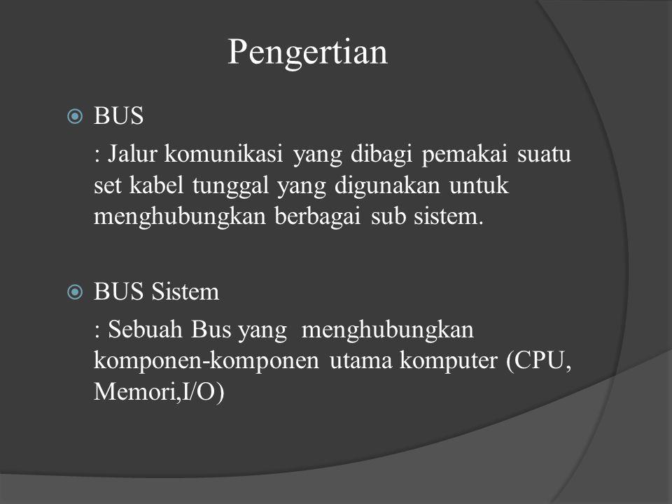 Pengertian  BUS : Jalur komunikasi yang dibagi pemakai suatu set kabel tunggal yang digunakan untuk menghubungkan berbagai sub sistem.  BUS Sistem :