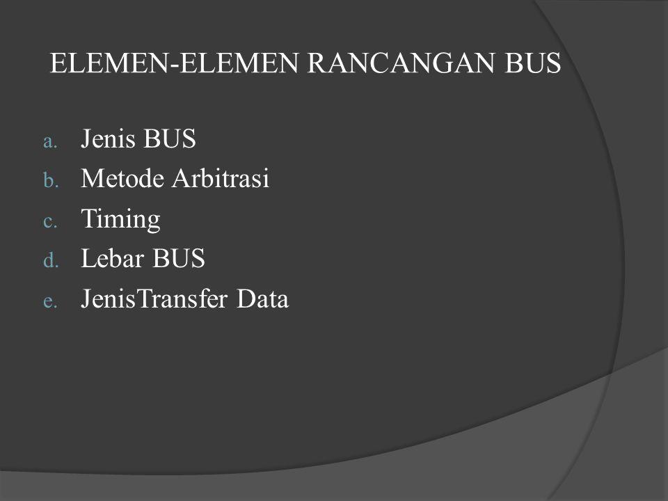 ELEMEN-ELEMEN RANCANGAN BUS a. Jenis BUS b. Metode Arbitrasi c. Timing d. Lebar BUS e. JenisTransfer Data