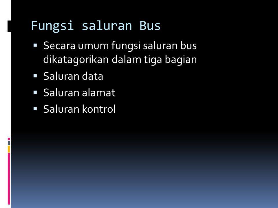 Saluran data (data bus)  Lintasan bagi perpindahan data antar modul.