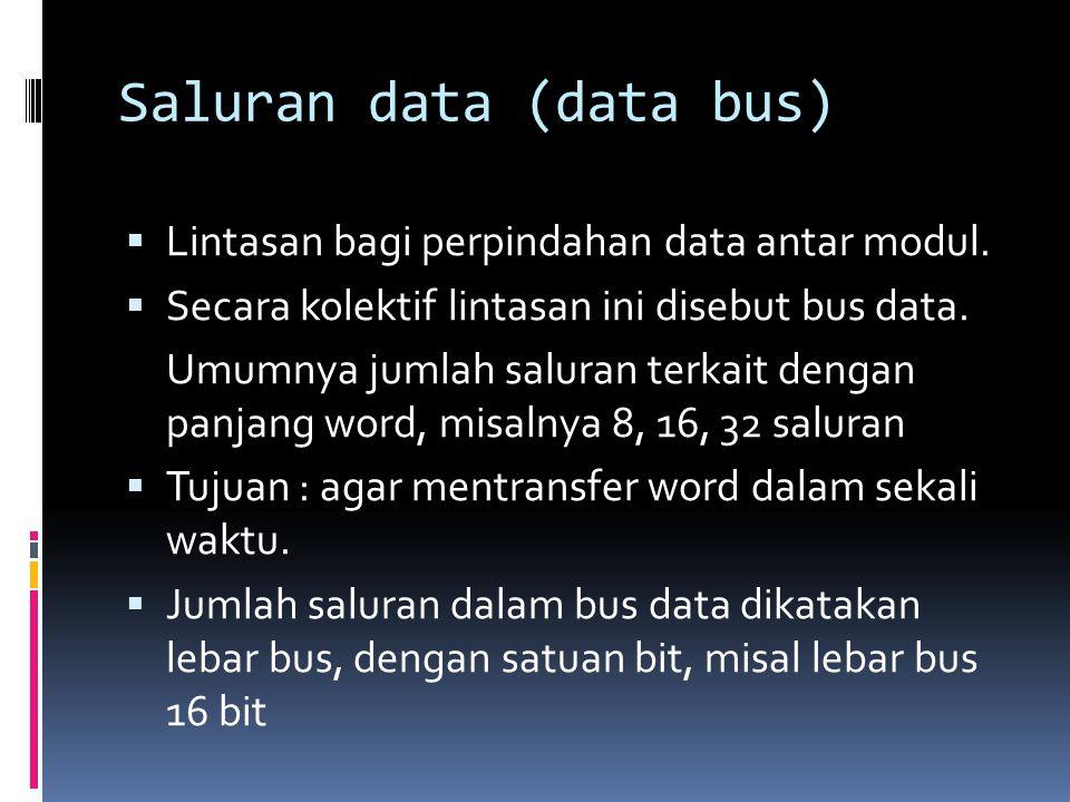 Saluran data (data bus)  Lintasan bagi perpindahan data antar modul.  Secara kolektif lintasan ini disebut bus data. Umumnya jumlah saluran terkait