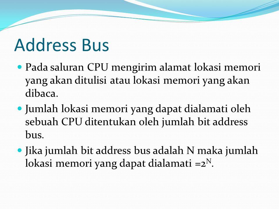 Address Bus  Pada saluran CPU mengirim alamat lokasi memori yang akan ditulisi atau lokasi memori yang akan dibaca.  Jumlah lokasi memori yang dapat