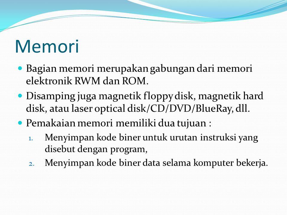 Memori  Bagian memori merupakan gabungan dari memori elektronik RWM dan ROM.  Disamping juga magnetik floppy disk, magnetik hard disk, atau laser op