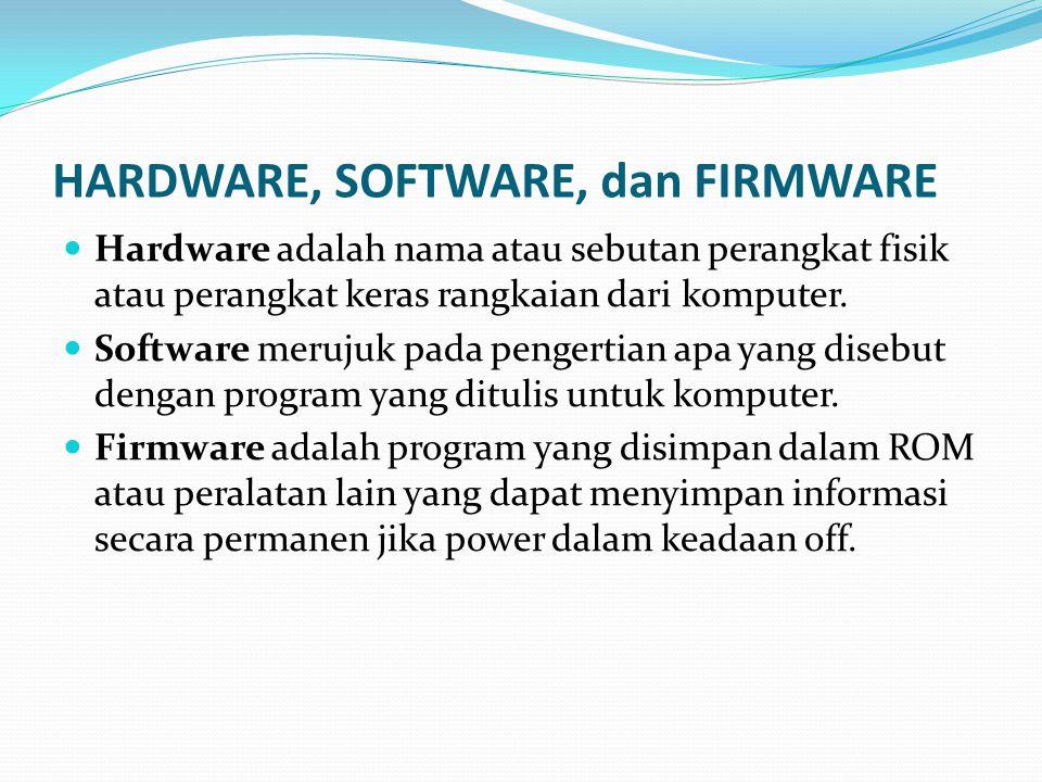 HARDWARE, SOFTWARE, dan FIRMWARE  Hardware adalah nama atau sebutan perangkat fisik atau perangkat keras rangkaian dari komputer.  Software merujuk
