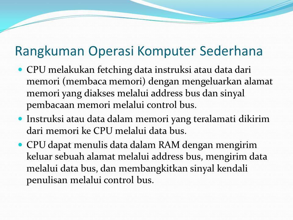 Rangkuman Operasi Komputer Sederhana  CPU melakukan fetching data instruksi atau data dari memori (membaca memori) dengan mengeluarkan alamat memori