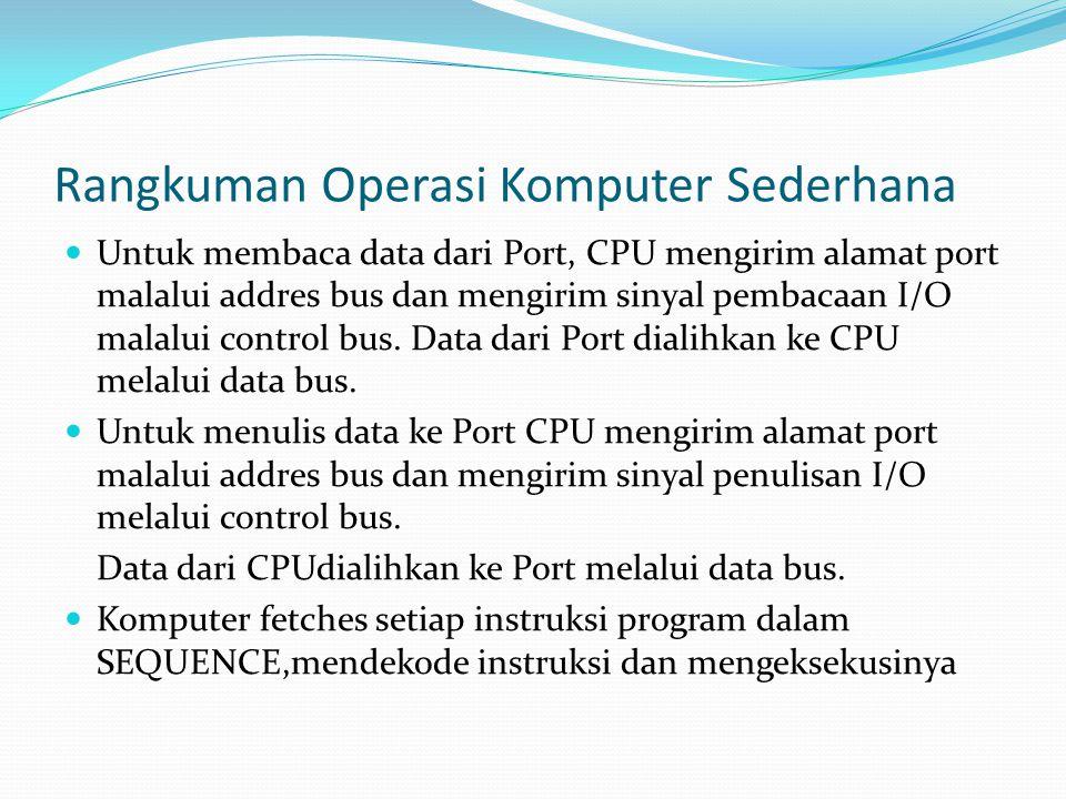 Rangkuman Operasi Komputer Sederhana  Untuk membaca data dari Port, CPU mengirim alamat port malalui addres bus dan mengirim sinyal pembacaan I/O mal