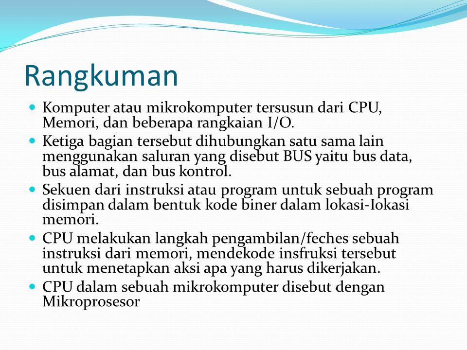 Rangkuman  Komputer atau mikrokomputer tersusun dari CPU, Memori, dan beberapa rangkaian I/O.  Ketiga bagian tersebut dihubungkan satu sama lain men