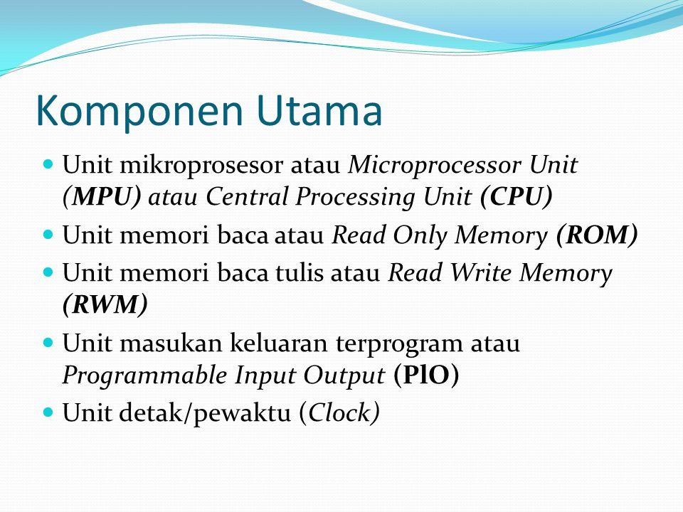 Komponen Utama  Unit mikroprosesor atau Microprocessor Unit (MPU) atau Central Processing Unit (CPU)  Unit memori baca atau Read Only Memory (ROM) 