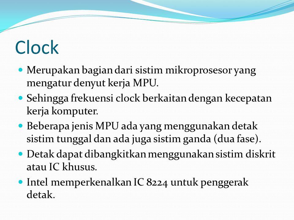 Clock  Merupakan bagian dari sistim mikroprosesor yang mengatur denyut kerja MPU.  Sehingga frekuensi clock berkaitan dengan kecepatan kerja kompute