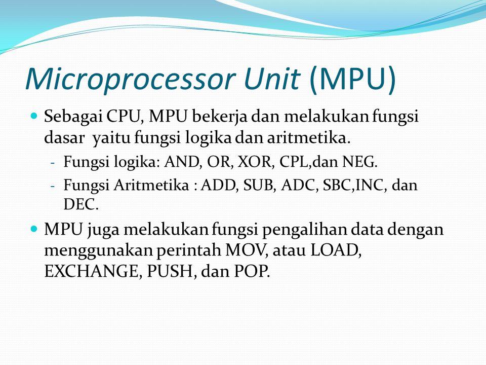 Microprocessor Unit (MPU)  Sebagai CPU, MPU bekerja dan melakukan fungsi dasar yaitu fungsi logika dan aritmetika. - Fungsi logika: AND, OR, XOR, CPL