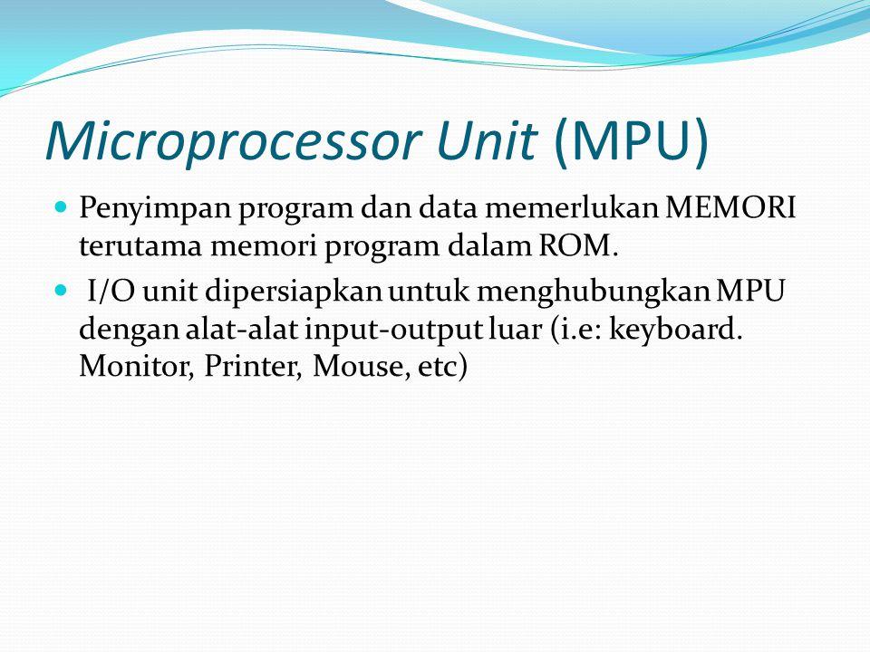 Microprocessor Unit (MPU)  Penyimpan program dan data memerlukan MEMORI terutama memori program dalam ROM.  I/O unit dipersiapkan untuk menghubungka