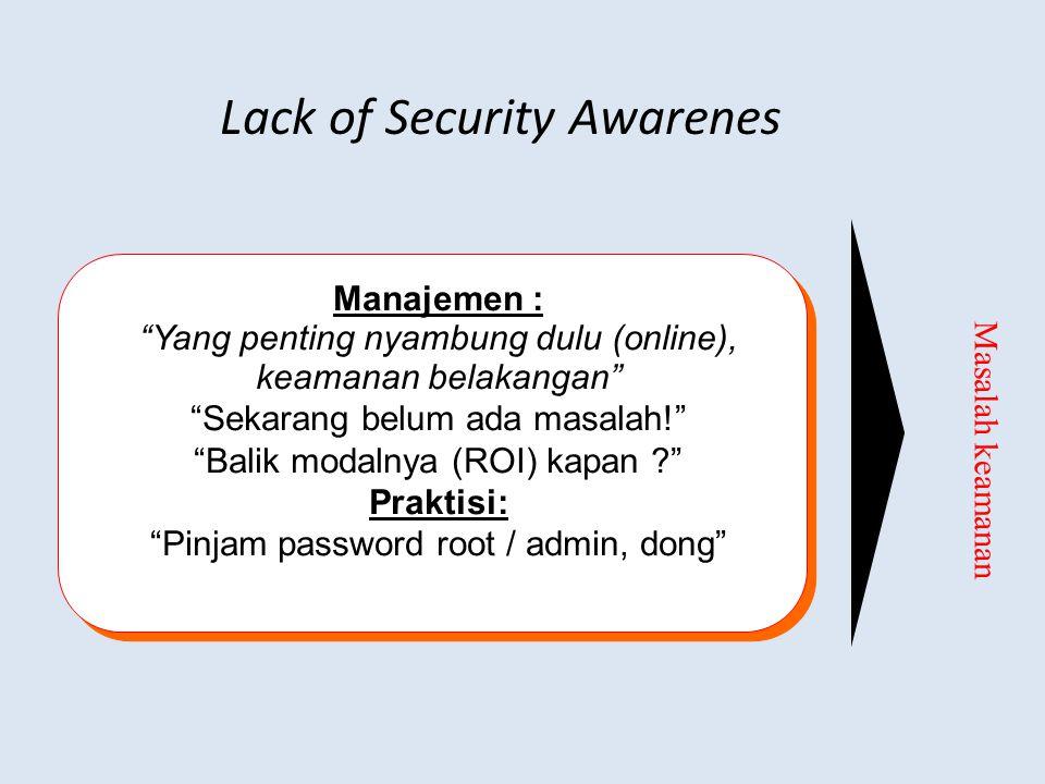 """Lack of Security Awarenes Masalah keamanan Manajemen : """"Yang penting nyambung dulu (online), keamanan belakangan"""" """"Sekarang belum ada masalah!"""" """"Balik"""