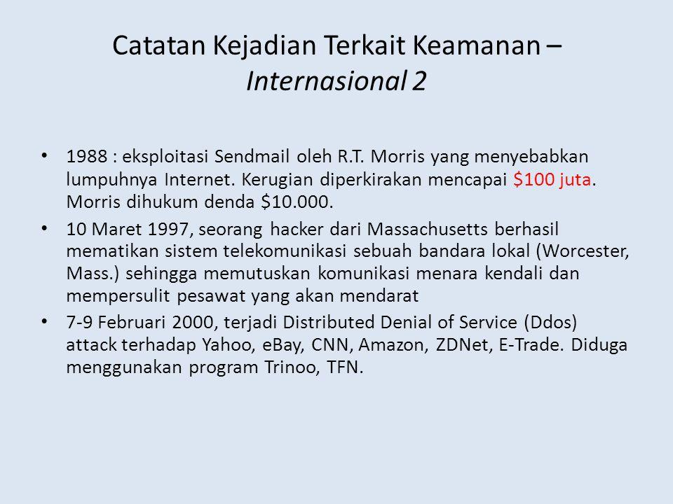 Catatan Kejadian Terkait Keamanan – Internasional 2 • 1988 : eksploitasi Sendmail oleh R.T. Morris yang menyebabkan lumpuhnya Internet. Kerugian diper