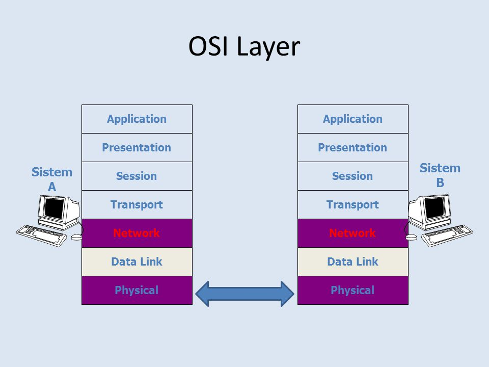 OSI Layer Physical Application Presentation Session Transport Network Data Link Physical Application Presentation Session Transport Network Data Link Sistem A Sistem B