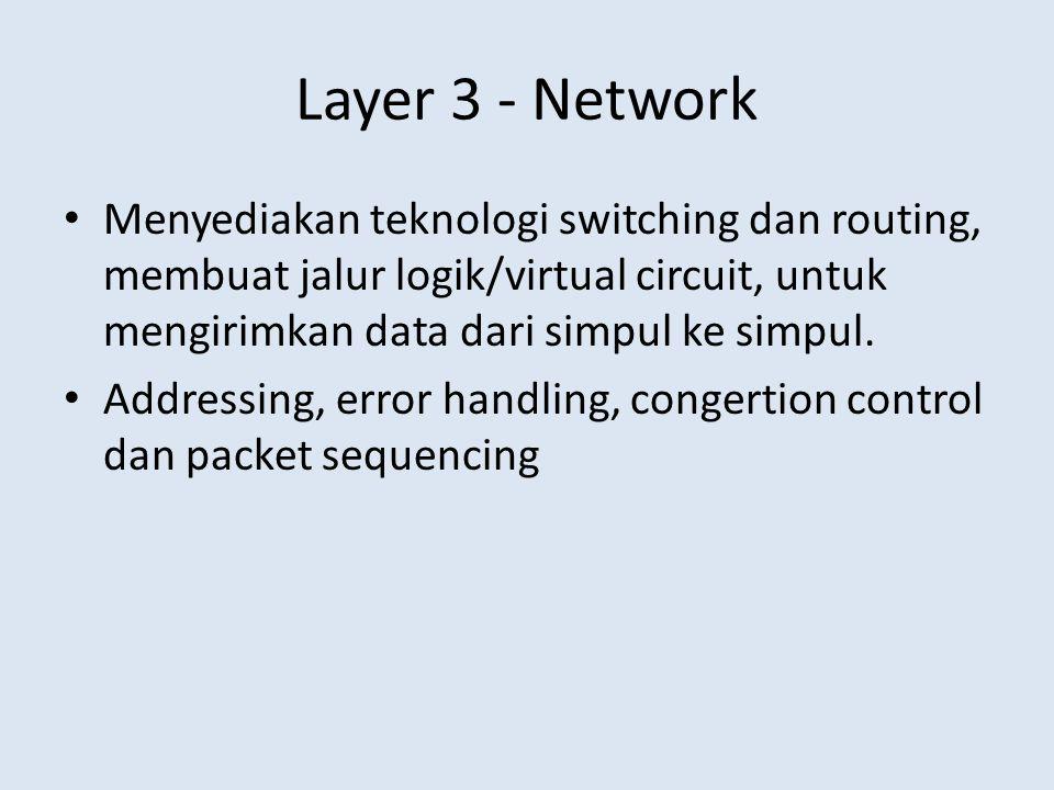 Layer 3 - Network • Menyediakan teknologi switching dan routing, membuat jalur logik/virtual circuit, untuk mengirimkan data dari simpul ke simpul. •