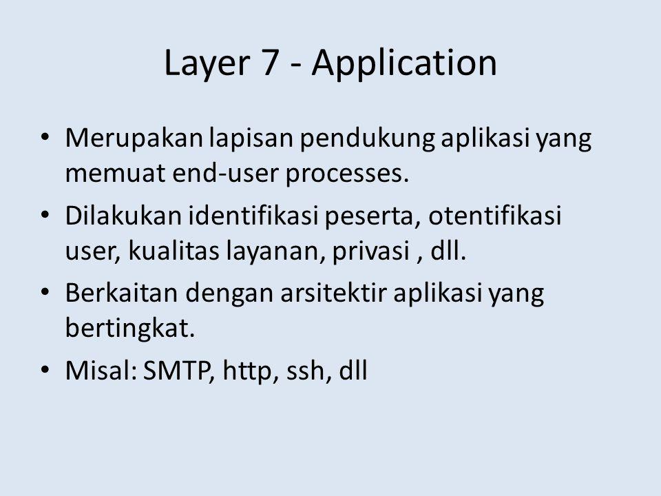 Layer 7 - Application • Merupakan lapisan pendukung aplikasi yang memuat end-user processes. • Dilakukan identifikasi peserta, otentifikasi user, kual