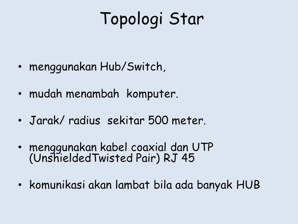 • menggunakan Hub/Switch, • mudah menambah komputer. • Jarak/ radius sekitar 500 meter. • menggunakan kabel coaxial dan UTP (UnshieldedTwisted Pair) R