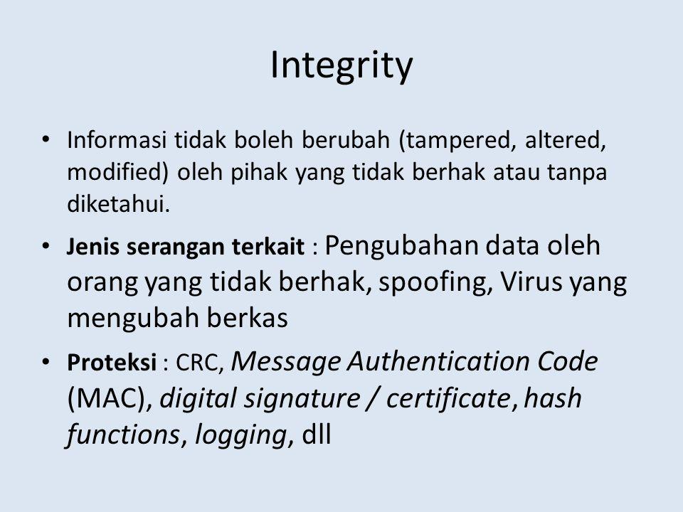 Integrity • Informasi tidak boleh berubah (tampered, altered, modified) oleh pihak yang tidak berhak atau tanpa diketahui. • Jenis serangan terkait :