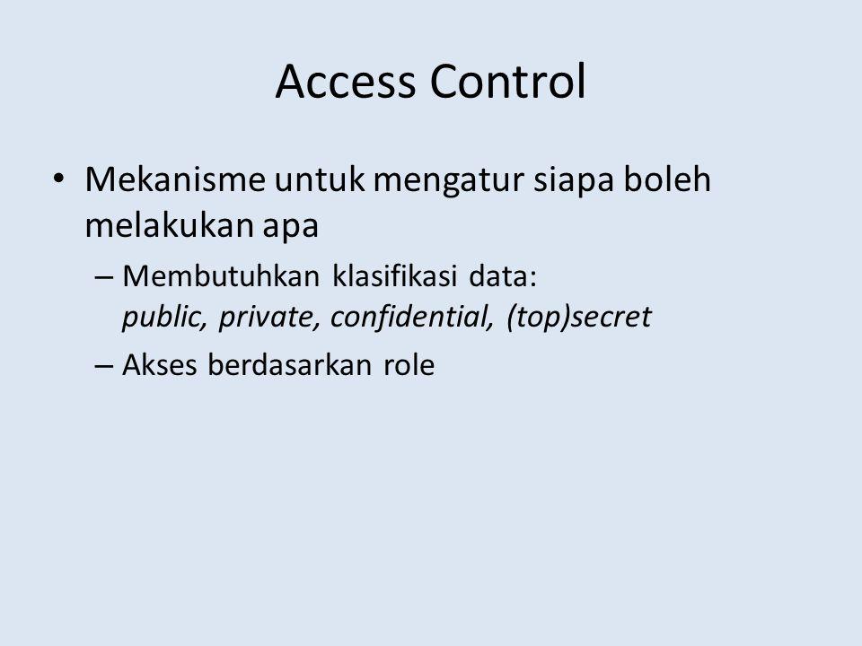 Access Control • Mekanisme untuk mengatur siapa boleh melakukan apa – Membutuhkan klasifikasi data: public, private, confidential, (top)secret – Akses