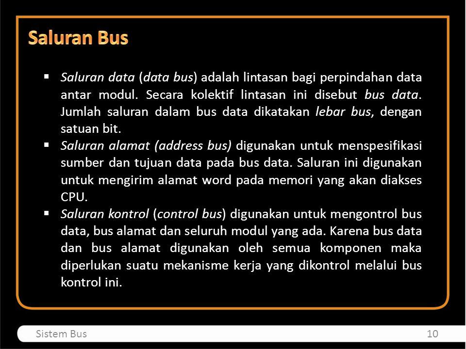  Saluran data (data bus) adalah lintasan bagi perpindahan data antar modul. Secara kolektif lintasan ini disebut bus data. Jumlah saluran dalam bus d