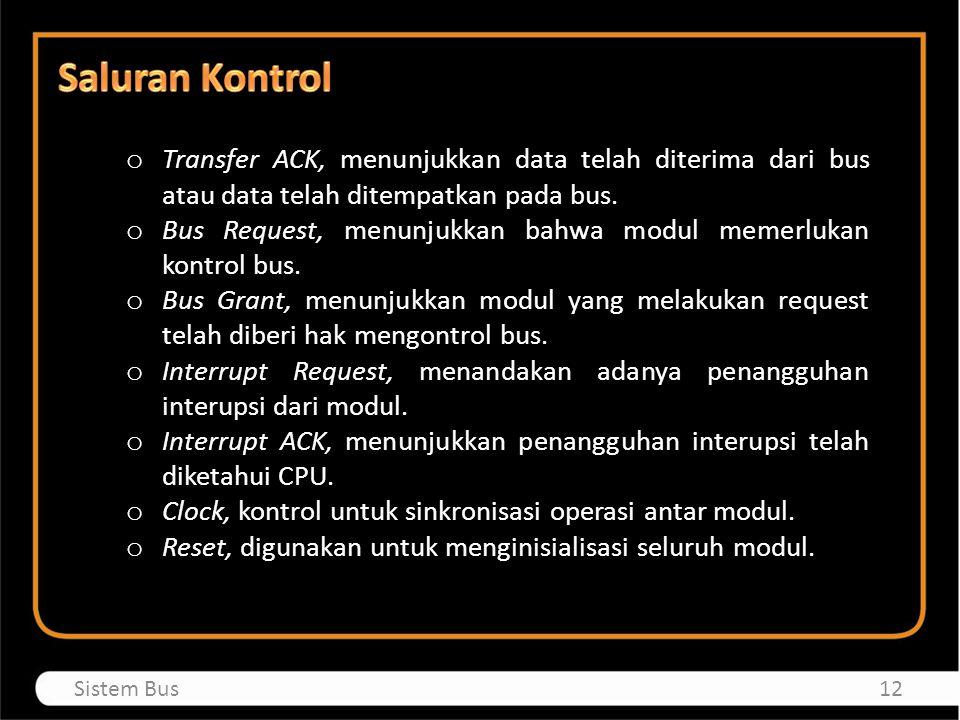 o Transfer ACK, menunjukkan data telah diterima dari bus atau data telah ditempatkan pada bus. o Bus Request, menunjukkan bahwa modul memerlukan kontr