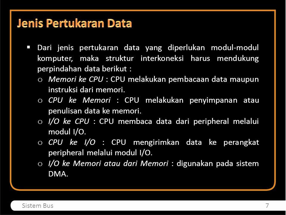  Dari jenis pertukaran data yang diperlukan modul-modul komputer, maka struktur interkoneksi harus mendukung perpindahan data berikut : o Memori ke C