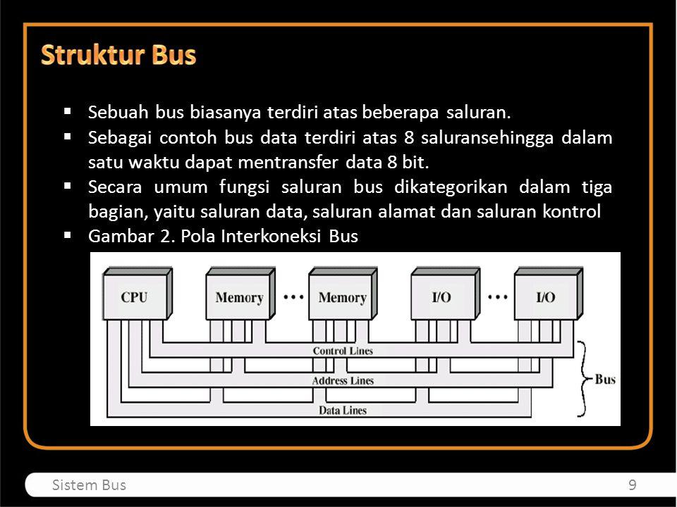 Sebuah bus biasanya terdiri atas beberapa saluran.  Sebagai contoh bus data terdiri atas 8 saluransehingga dalam satu waktu dapat mentransfer data