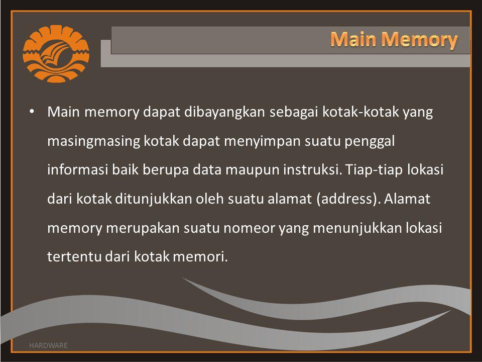 • Main memory dapat dibayangkan sebagai kotak-kotak yang masingmasing kotak dapat menyimpan suatu penggal informasi baik berupa data maupun instruksi.