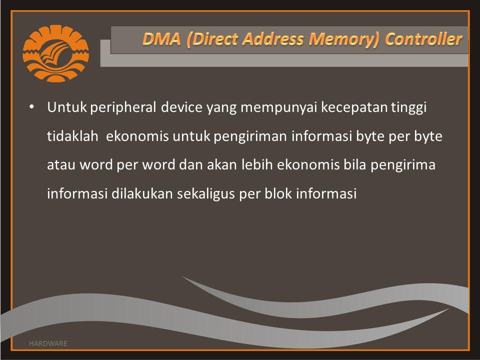 • Untuk peripheral device yang mempunyai kecepatan tinggi tidaklah ekonomis untuk pengiriman informasi byte per byte atau word per word dan akan lebih