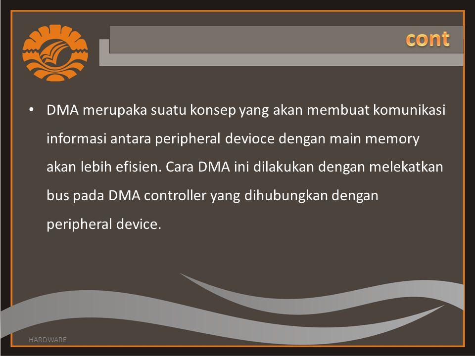 • DMA merupaka suatu konsep yang akan membuat komunikasi informasi antara peripheral devioce dengan main memory akan lebih efisien. Cara DMA ini dilak