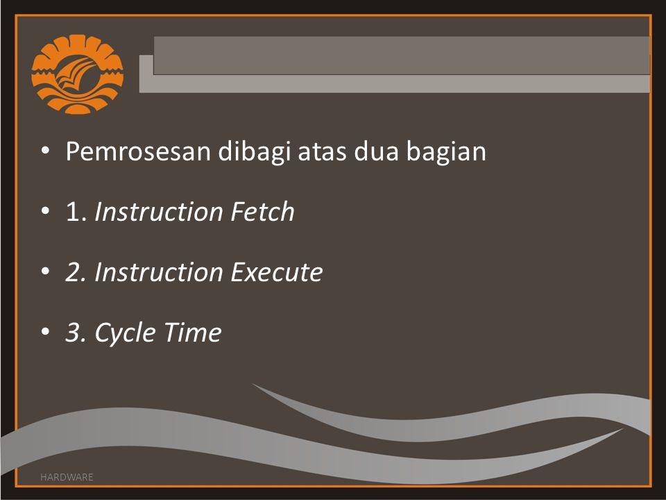 • Pemrosesan dibagi atas dua bagian • 1. Instruction Fetch • 2. Instruction Execute • 3. Cycle Time HARDWARE