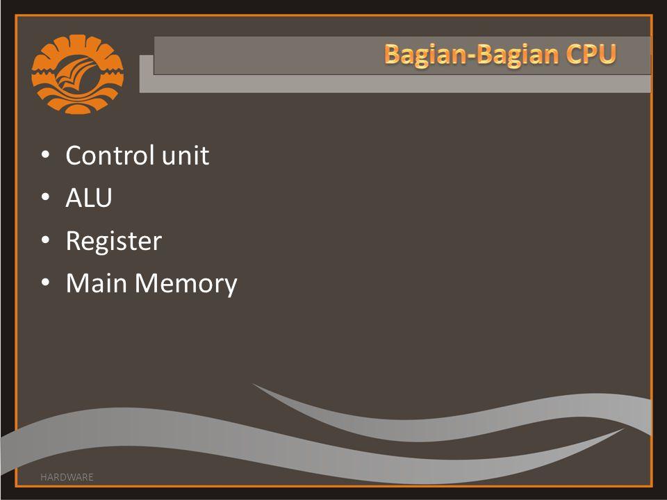 • Control unit • ALU • Register • Main Memory HARDWARE