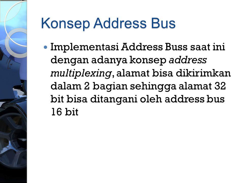 Konsep Address Bus  Implementasi Address Buss saat ini dengan adanya konsep address multiplexing, alamat bisa dikirimkan dalam 2 bagian sehingga alam