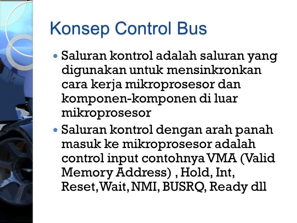 Konsep Control Bus  Saluran kontrol adalah saluran yang digunakan untuk mensinkronkan cara kerja mikroprosesor dan komponen-komponen di luar mikropro