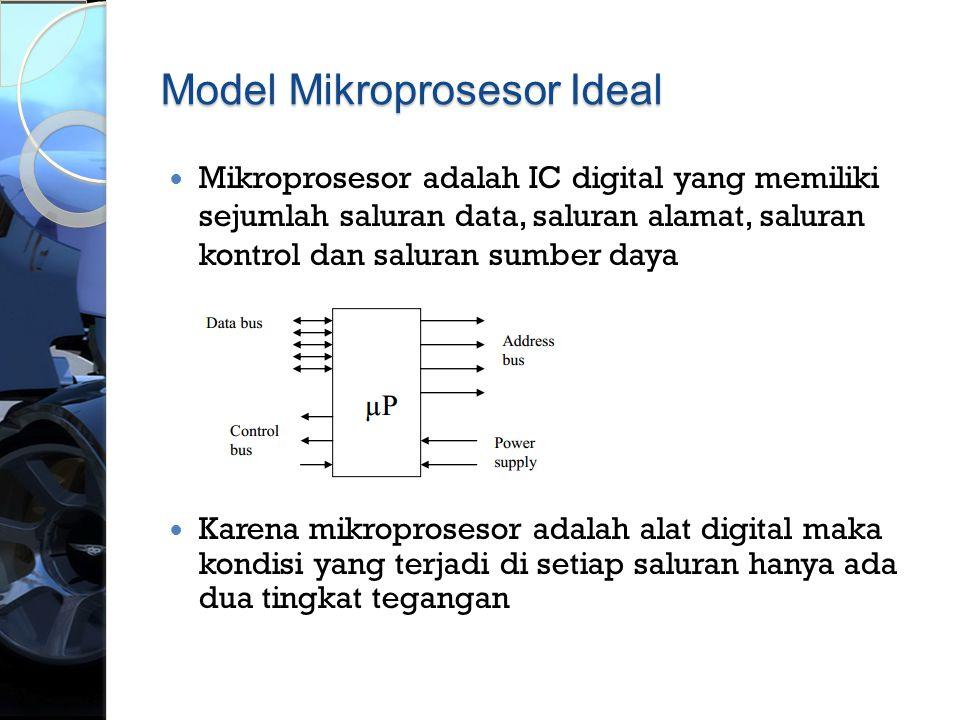 Model Mikroprosesor Ideal  Mikroprosesor adalah IC digital yang memiliki sejumlah saluran data, saluran alamat, saluran kontrol dan saluran sumber da