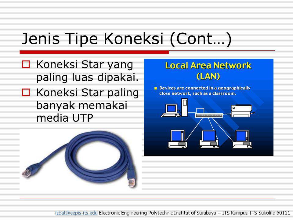 isbat@eepis-its.eduisbat@eepis-its.edu Electronic Engineering Polytechnic Institut of Surabaya – ITS Kampus ITS Sukolilo 60111 isbat@eepis-its.edu Jenis Tipe Koneksi (Cont…)  Koneksi Star yang paling luas dipakai.