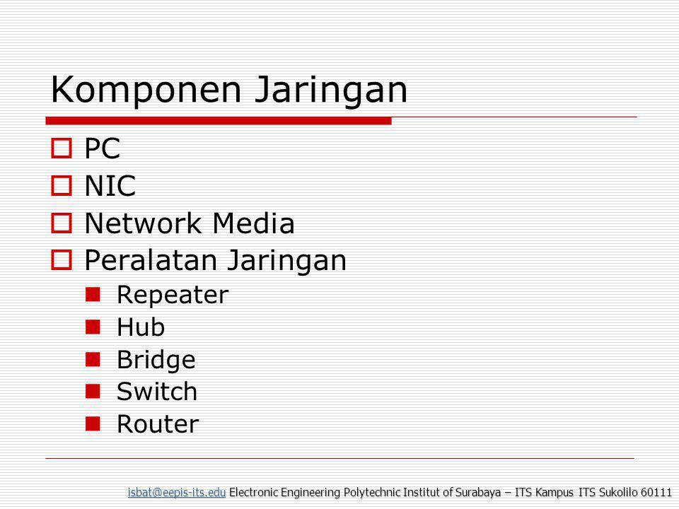isbat@eepis-its.eduisbat@eepis-its.edu Electronic Engineering Polytechnic Institut of Surabaya – ITS Kampus ITS Sukolilo 60111 isbat@eepis-its.edu Komponen Jaringan  PC  NIC  Network Media  Peralatan Jaringan  Repeater  Hub  Bridge  Switch  Router