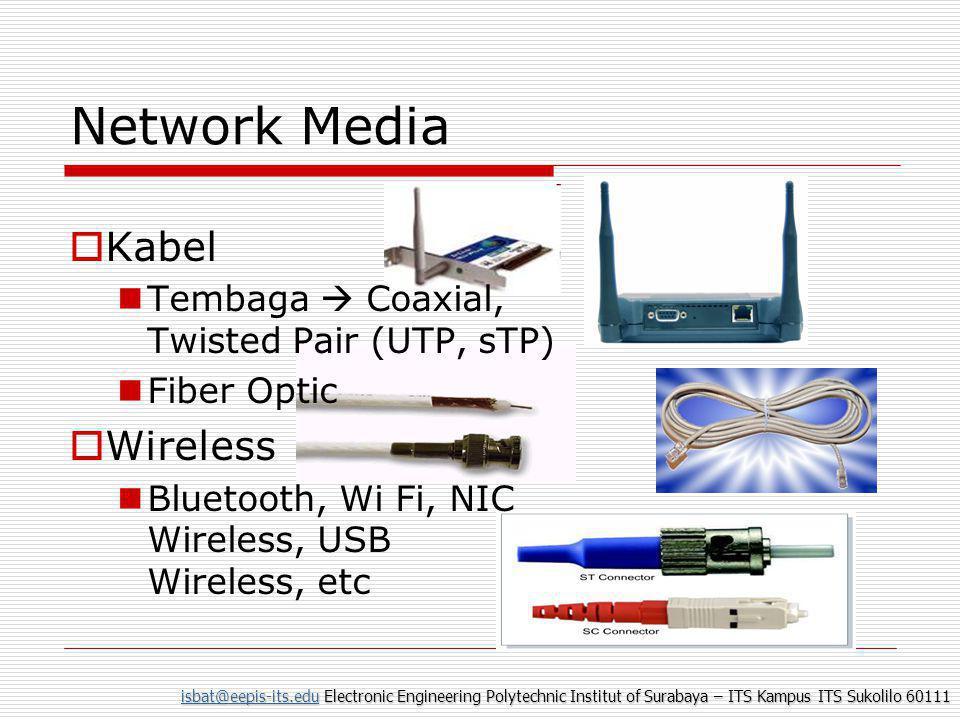 isbat@eepis-its.eduisbat@eepis-its.edu Electronic Engineering Polytechnic Institut of Surabaya – ITS Kampus ITS Sukolilo 60111 isbat@eepis-its.edu Network Media  Kabel  Tembaga  Coaxial, Twisted Pair (UTP, sTP)  Fiber Optic  Wireless  Bluetooth, Wi Fi, NIC Wireless, USB Wireless, etc