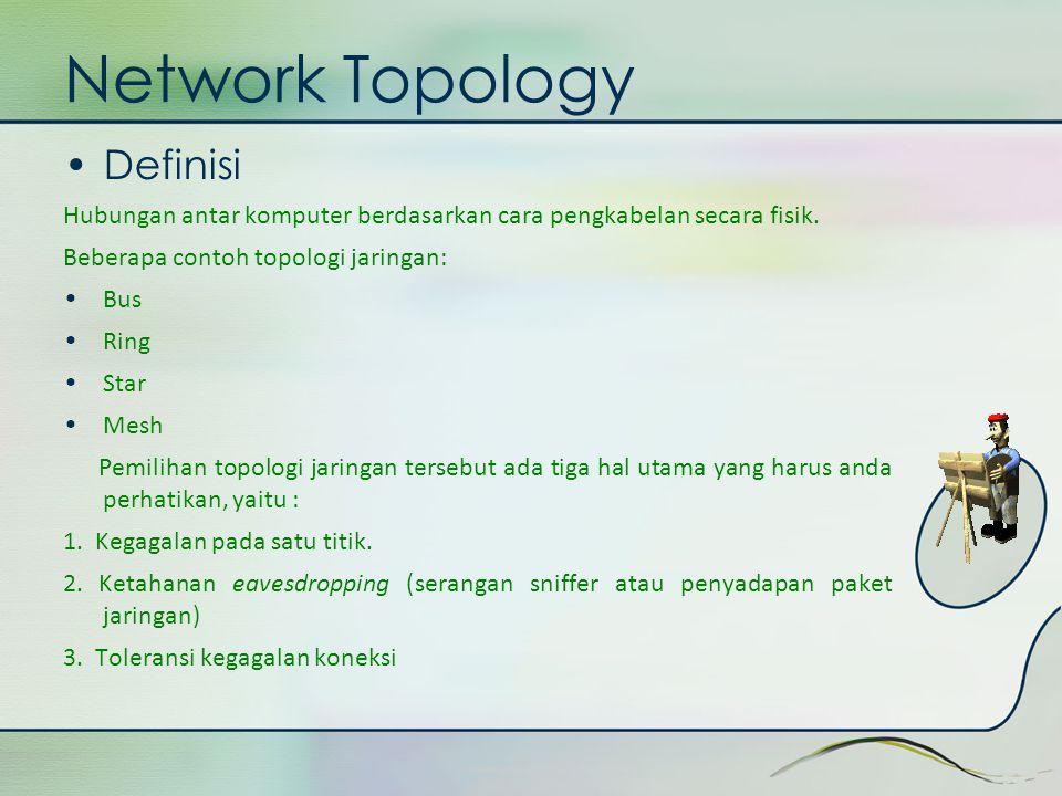 •Definisi Hubungan antar komputer berdasarkan cara pengkabelan secara fisik. Beberapa contoh topologi jaringan: • Bus • Ring • Star • Mesh Pemilihan t